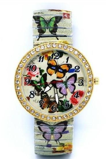 Vintage Butterfly Face Stainless Steel Band Unisex Wrist Watch For Men Lady Retro Round Quartz Watch Pattern 2