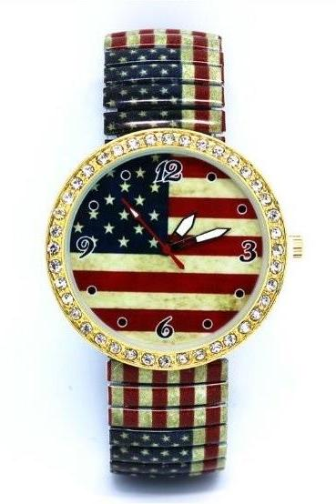 US Flag Stainless Steel Band Unisex Wrist Watch For Men Lady Retro Round Quartz Watch