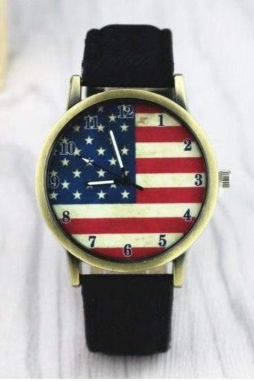 US Flag Retro Quartz Watch Leather Band Unisex Wrist Watch For Men Lady Retro Round Quartz Watch Black