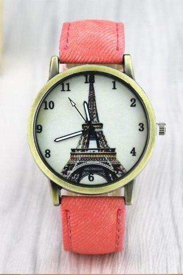 Paris Tower Retro Quartz Watch Leather Band Unisex Wrist Watch For Men Lady Retro Round Quartz Watch Pink