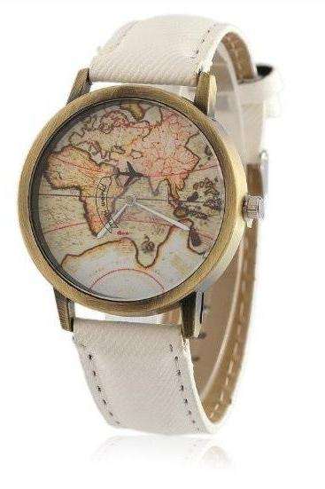 World Map Retro Quartz Watch Leather Band Unisex Wrist Watch For Men Lady Retro Round Quartz Watch White