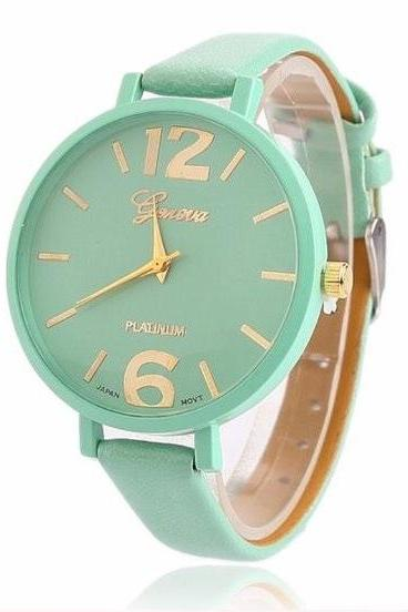 Mint Green Geneva Watch With Thin Leather Band