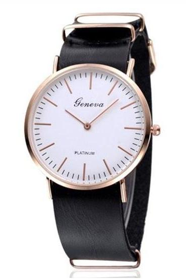 Two Hands Retro Quartz Watch Leather Band Unisex Wrist Watch For Men Lady Retro Round Quartz Watch Black