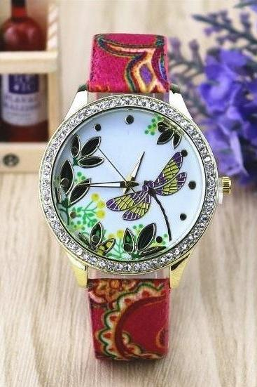 Dragonfly Retro Quartz Watch Leather Band Unisex Wrist Watch For Men Lady Retro Round Quartz Watch Pattern 2