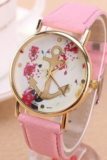 Anchor Retro Quartz Watch Leather Band Unisex Wrist Watch For Men Lady Retro Round Quartz Watch Pink