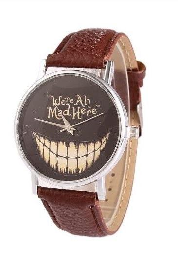 Big Mouth Retro Quartz Watch Leather Band Unisex Wrist Watch For Men Lady Retro Round Quartz Watch Dark Brown