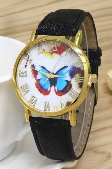 Butterfly Retro Quartz Watch Leather Band Unisex Wrist Watch For Men Lady Retro Round Quartz Watch Black