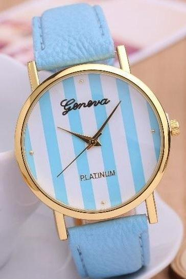 Stripe Watch Retro Quartz Watch Leather Band Unisex Wrist Watch For Men Lady Retro Round Quartz Watch Sky Blue