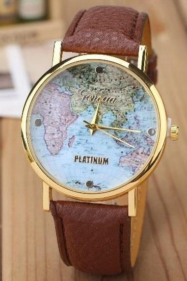 Map Retro Quartz Watch Leather Band Unisex Wrist Watch For Men Lady Retro Round Quartz Watch Dark Brown