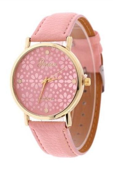 Small Flower Retro Quartz Watch Leather Band Unisex Wrist Watch For Men Lady Retro Round Quartz Watch Pink