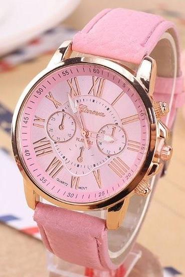 3 Eye Watch Retro Quartz Watch Leather Band Unisex Wrist Watch For Men Lady Retro Round Quartz Watch Pink
