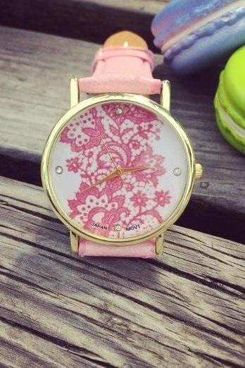 Lace Watch Vintage Quartz Watch Leather Band Unisex Wrist Watch For Men Lady Retro Round Quartz Watch Pink