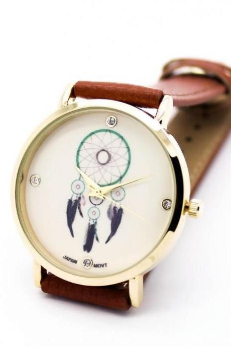 Catch Dream Retro Quartz Watch Leather Band Unisex Wrist Watch For Men Lady Retro Round Quartz Watch Brown