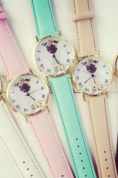 Lovely Dog Watch Retro Quartz Watch Leather Band Unisex Wrist Watch For Men Lady Retro Round Quartz Watch