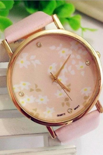 Pink Face Flower Leather Watchband Unisex Wrist Watch For Men Lady Retro Round Quartz Pink