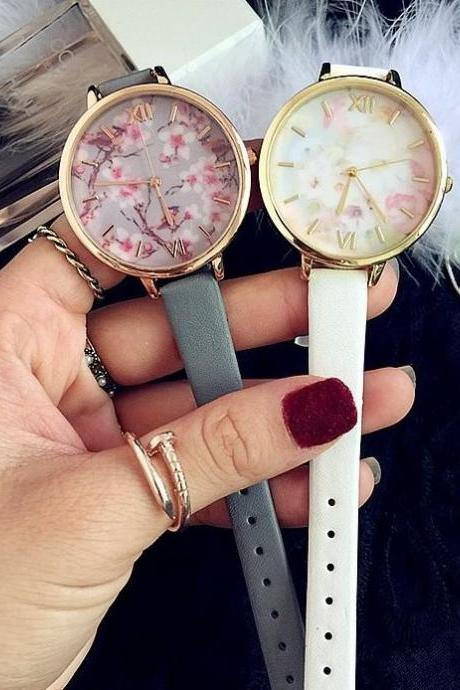 Vintage Flower Small Band Watch Leather Watchband Unisex Wrist Watch For Men Lady Retro Round Quartz