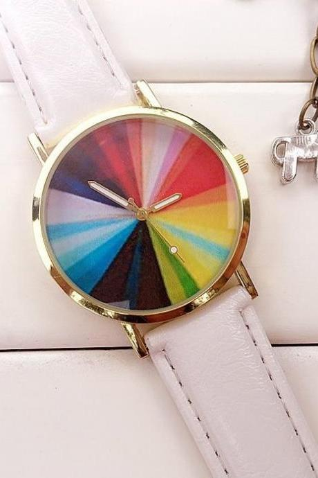 Color Wheel Watch Leather Watchband Unisex Wrist Watch For Men Lady Retro Round Quartz White