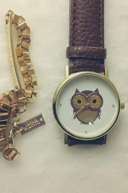 Owl Watch Leather Watchband Unisex Wrist Watch For Men Lady Retro Round Quartz Brown