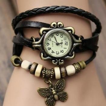 Handmade Vintage Quartz Weave Around Leather Bracelet Lady Woman Wrist Watch With Butterfly Charm Black
