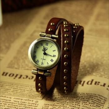 Vintage Classical Design Real Leather Chain Watch Roman Numerals Hour Mark Dark Brown