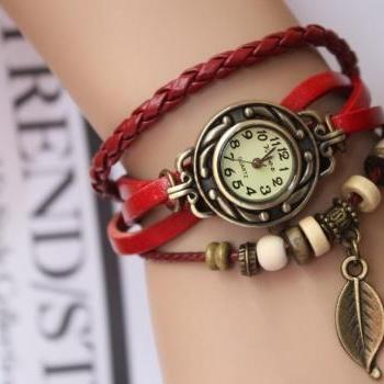 Handmade Vintage Style Leather Band Watches Woman Girl Lady Quartz Wrist Watch Red