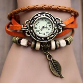 Handmade Vintage Style Leather Band Watches Woman Girl Lady Quartz Wrist Watch Light Brown