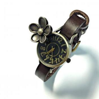 Handmade Vintage Flower Face Leather Band Woman Lady Girl Quartz Wrist Watch Dark Brown