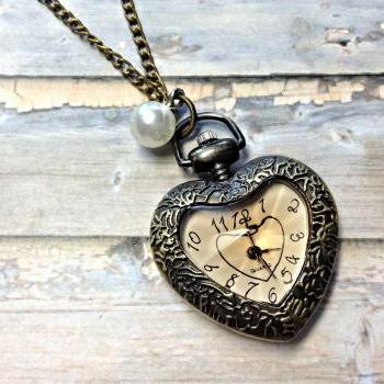 Handmade Vintage Heart Pocket Watch Necklace With Pearl Pendant