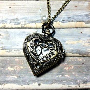 Handmade Vintage Style Heart Pocket Watch Necklace With Pearl Pendant