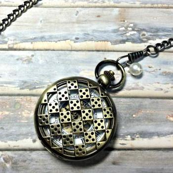 Handmade Vintage Hollow Out Dice Face Mechanical Pocket Watch Roman Numerals Hour Mark Necklace With Pearl Pendant