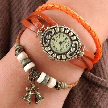 Handmade Vintage Quartz Weave Around Leather Bracelet Lady Woman Girl Wrist Watch With Bell Charm Light Brown