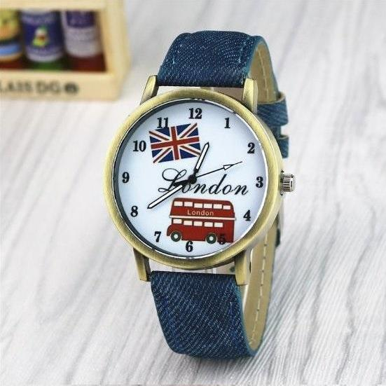 Handmade Vintage London Bus Face Leather Watchband Unisex Wrist Watch For Men Lady Retro Round Quartz Blue