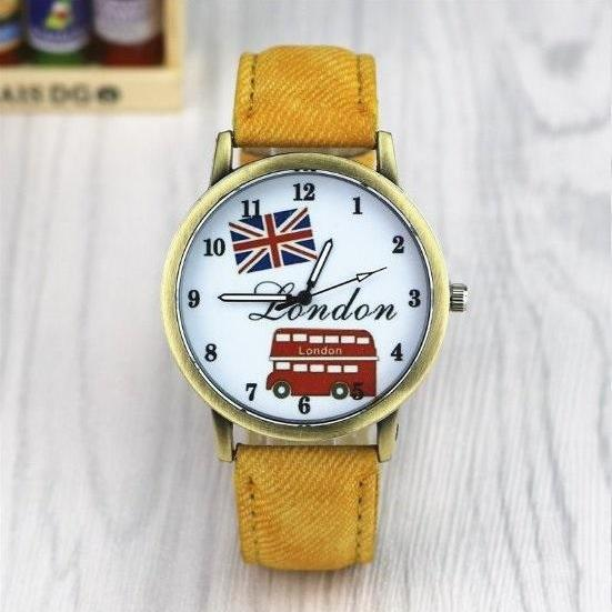 Handmade Vintage London Bus Face Leather Watchband Unisex Wrist Watch For Men Lady Retro Round Quartz Yellow