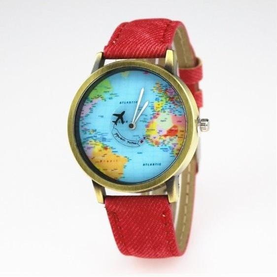 Handmade Vintage World Map Face Leather Watchband Unisex Wrist Watch For Men Lady Retro Round Quartz Red
