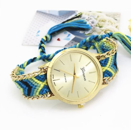 Retro Colorful Weave Band Quartz Watch Unisex Wrist Watch For Men Lady Retro Round Quartz Watch Pattern 5
