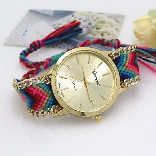 Retro Colorful Weave Band Quartz Watch Unisex Wrist Watch For Men Lady Retro Round Quartz Watch Pattern 7