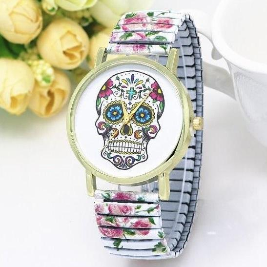 Vintage Flower Band Suger Skull Face Stainless Steel Band Unisex Wrist Watch For Men Lady Retro Round Quartz Watch White