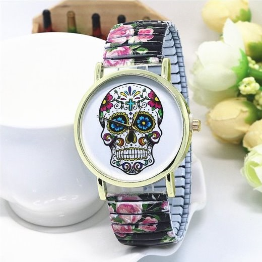 Vintage Flower Band Suger Skull Face Stainless Steel Band Unisex Wrist Watch For Men Lady Retro Round Quartz Watch Black