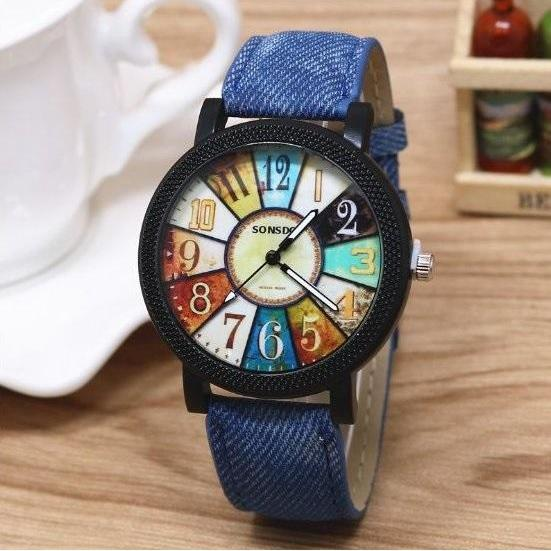 Retro Quartz Watch Leather Band Unisex Wrist Watch For Men Lady Retro Round Quartz Watch Blue