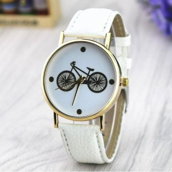 Bicycle Retro Quartz Watch Leather Band Unisex Wrist Watch For Men Lady Retro Round Quartz Watch White