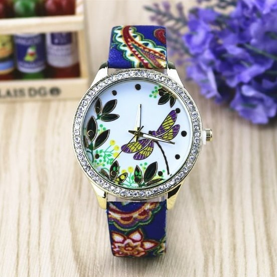 Dragonfly Retro Quartz Watch Leather Band Unisex Wrist Watch For Men Lady Retro Round Quartz Watch Pattern 3