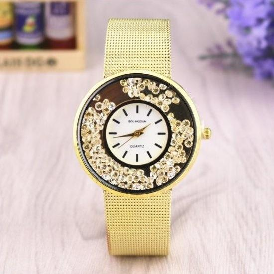 Running Balls Watch With Stainless Steel Band Unisex Wrist Watch For Men Lady Retro Round Quartz Watch