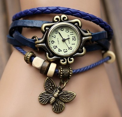Handmade Vintage Quartz Weave Around Leather Bracelet Lady Woman Wrist Watch With Erfly Charm Blue